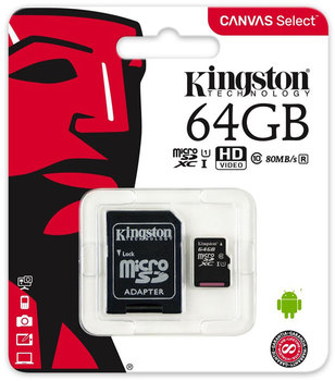 Флеш карта microSD 64GB Kingston Canvas Select micro SDXC Class10 UHS-I up to 80MB/s