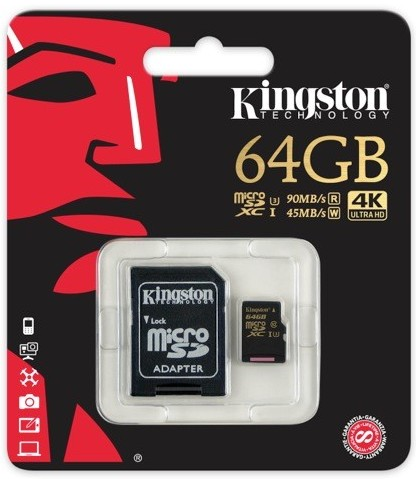 Флеш карта microSD 64GB Kingston micro SDXC Class10 UHS-I(U3) 90R/45W